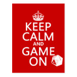Keep Calm and Game On - dice - all colors Postcard