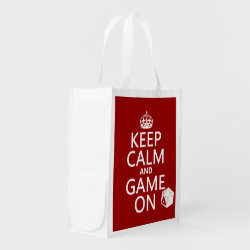 Reusable Grocery Bag with Keep Calm and Game On design