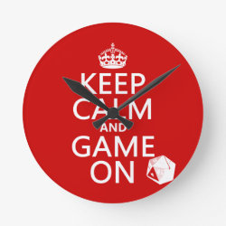 Medium Round Wall Clock with Keep Calm and Game On design
