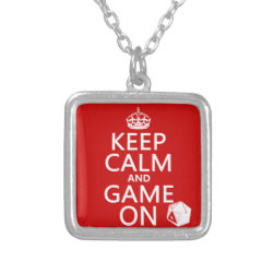 Small Necklace with Keep Calm and Game On design