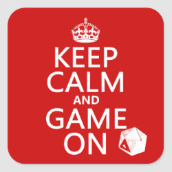 Square Sticker with Keep Calm and Game On design