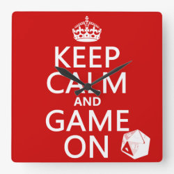 Square Wall Clock with Keep Calm and Game On design