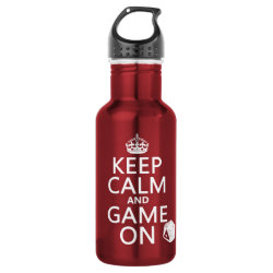 Water Bottle (24 oz) with Keep Calm and Game On design