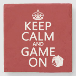 Marble Coaster with Keep Calm and Game On design