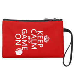 Sueded Mini Clutch with Keep Calm and Game On design