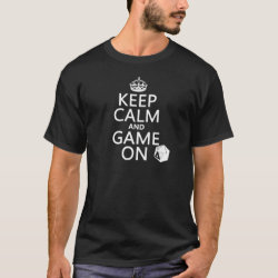 Men's Basic Dark T-Shirt with Keep Calm and Game On design