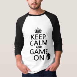 Keep Calm and Game On Men's Basic 3/4 Sleeve Raglan T-Shirt