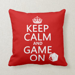 Cotton Throw Pillow with Keep Calm and Game On design