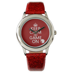 Keep Calm and Game On Kid's Red Glitter Strap Watch