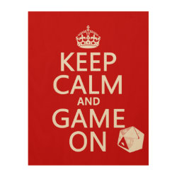 11'x14' Wood Canvas with Keep Calm and Game On design