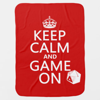 Keep Calm and Game On - dice - all colors Stroller Blanket