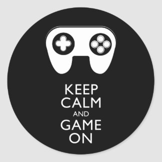 KEEP CALM AND GAME ON - Game pad Classic Round Sticker