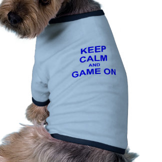 Keep Calm and Game On gray blue black Doggie Tshirt
