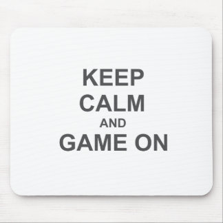 Keep Calm and Game On gray blue black Mouse Pads