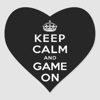 Keep Calm and Game On Heart Stickers