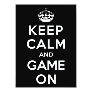 Keep Calm and Game On 5.5x7.5 Paper Invitation Card