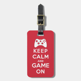 Keep calm and game on tags for bags