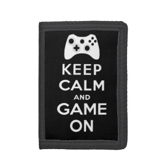 Keep calm and game on trifold wallets