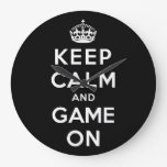 Keep Calm and Game On Wall Clock