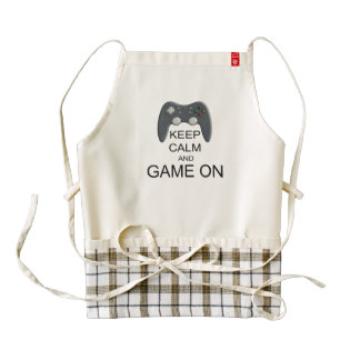 Keep Calm And Game ON Zazzle HEART Apron