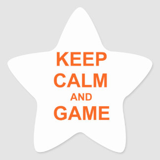 Keep Calm and Game orange pink red Star Stickers