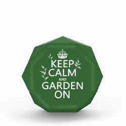 Small Acrylic Octagon Award with Keep Calm and Garden On design