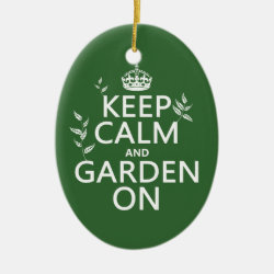 Oval Ornament with Keep Calm and Garden On design