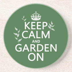 Sandstone Drink Coaster with Keep Calm and Garden On design