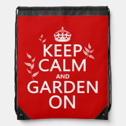 Drawstring Backpack with Keep Calm and Garden On design