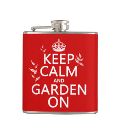 Vinyl Wrapped Flask, 6 oz. with Keep Calm and Garden On design