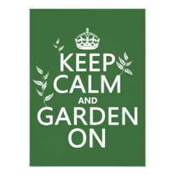 5.5' x 7.5' Invitation / Flat Card with Keep Calm and Garden On design