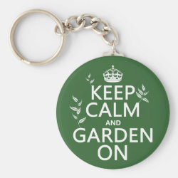 Basic Button Keychain with Keep Calm and Garden On design