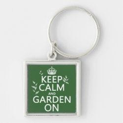 Premium Square Keychain with Keep Calm and Garden On design