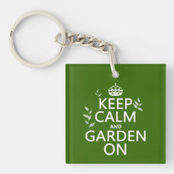 Square Keychain with Keep Calm and Garden On design
