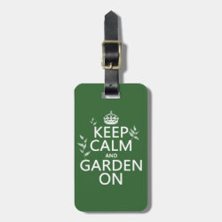 Small Luggage Tag with leather strap with Keep Calm and Garden On design