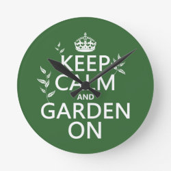 Medium Round Wall Clock with Keep Calm and Garden On design