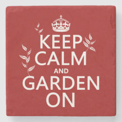 Marble Coaster with Keep Calm and Garden On design