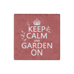 Marble Magnet with Keep Calm and Garden On design