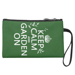 Sueded Mini Clutch with Keep Calm and Garden On design