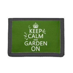 TriFold Nylon Wallet with Keep Calm and Garden On design