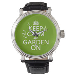 Men's Vintage Black Leather Strap Watch with Keep Calm and Garden On design