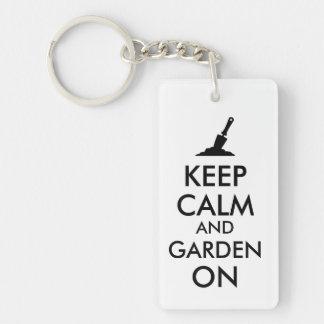 Keep Calm and Garden On Gardening Trowel Custom Keychain