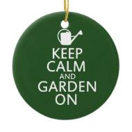 Keep calm and garden on christmas tree ornaments