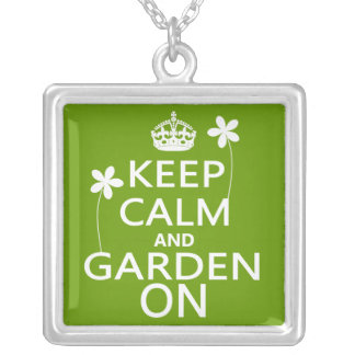 Keep Calm and Garden On Square Pendant Necklace