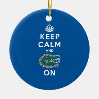 Keep Calm and Gator On - Blue Ornaments