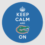 Keep Calm and Gator On - Blue Classic Round Sticker