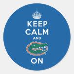 Keep Calm and Gator On Classic Round Sticker