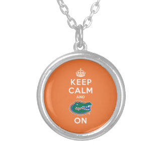 Keep Calm and Gator On - Orange Personalized Necklace