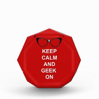 Keep Calm and Geek On Acrylic Award