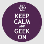 Keep Calm and Geek On Classic Round Sticker